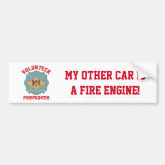 Delaware Flag Volunteer Firefighter Cross Bumper Sticker
