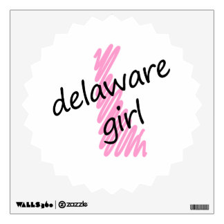 Delaware Girl with Scribbled Delaware Map Wall Decal