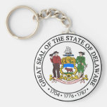 Delaware Great Seal Basic Round Button Keychain