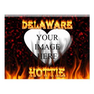 Delaware hottie fire and flames design. postcard