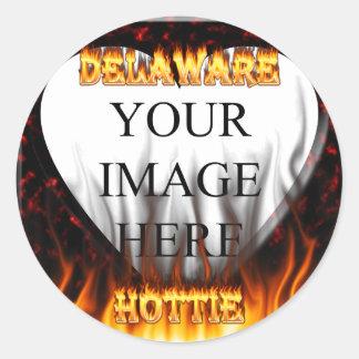 Delaware hottie fire and flames design. sticker