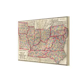 Delaware, Illinois, Indiana, and Iowa Canvas Print