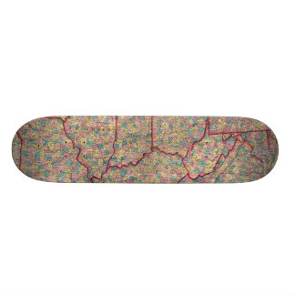 Delaware, Illinois, Indiana, and Iowa Skateboard Deck