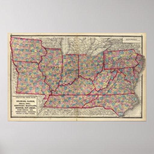 Delaware, Illinois, Indiana, e Iowa Impresiones