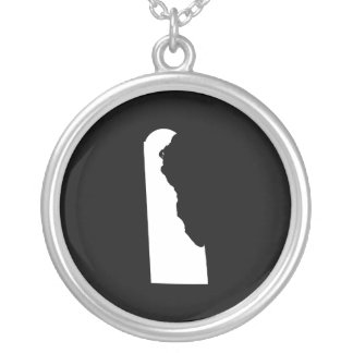 Delaware in White and Black Silver Plated Necklace