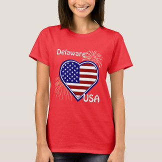 Delaware July 4th Fireworks Heart Flag Red T-Shirt