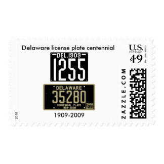 Delaware license plate centennial postage