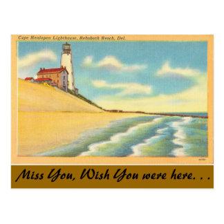 Delaware, Lighthouse, Rehoboth Beach Postcard