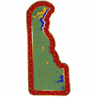 Delaware Map Christmas Ornament Cut Out