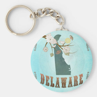 Delaware Map With Lovely Birds Basic Round Button Keychain