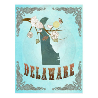 Delaware Map With Lovely Birds Postcard