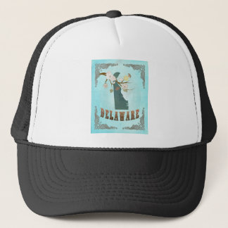 Delaware Map With Lovely Birds Trucker Hat