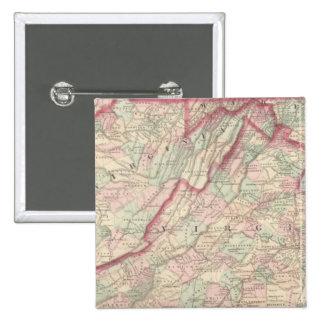 Delaware, Maryland, Virginia, West Virginia 2 Inch Square Button
