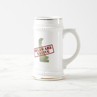 Delaware Native Stamped on Map Beer Stein