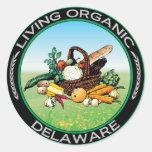 Delaware orgánico pegatina redonda