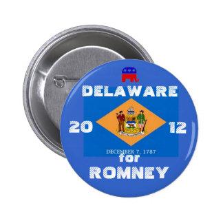Delaware para Romney 2012 Pin Redondo De 2 Pulgadas