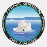 Delaware polar verde pegatina redonda
