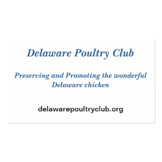 Delaware Poultry Club recruitment cards Double-Sided Standard Business Cards (Pack Of 100)