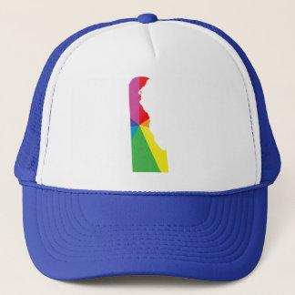 delaware pride. angled. trucker hat