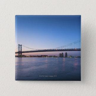 Delaware River, Ben Franklin Bridge Pinback Button