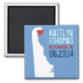Delaware Save the Date - Customizable City 2 Inch Square Magnet