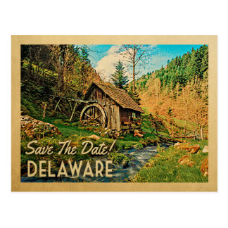 Delaware Save The Date Rustic Cabin Mill Woods Postcard