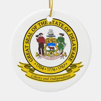 Delaware Seal Ceramic Ornament