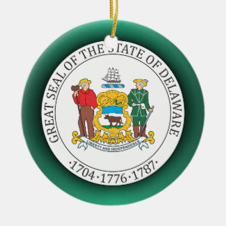 Delaware Seal Double-Sided Ceramic Round Christmas Ornament