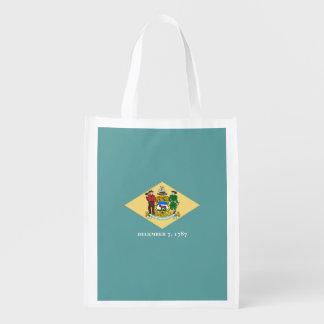 Delaware State Flag Design Reusable Grocery Bag