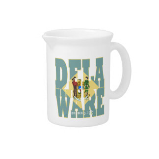 Delaware state flag text drink pitchers