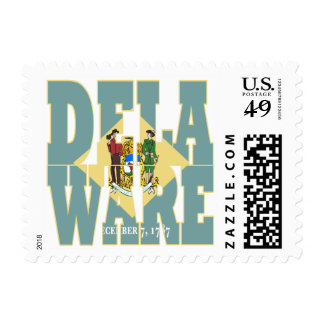 Delaware state flag text postage