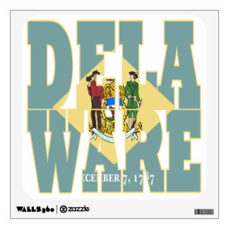 Delaware state flag text wall sticker