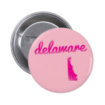 Delaware state in pink pinback button