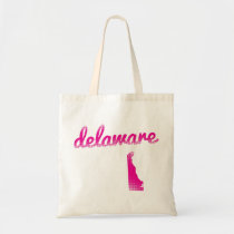 Delaware state in pink tote bag