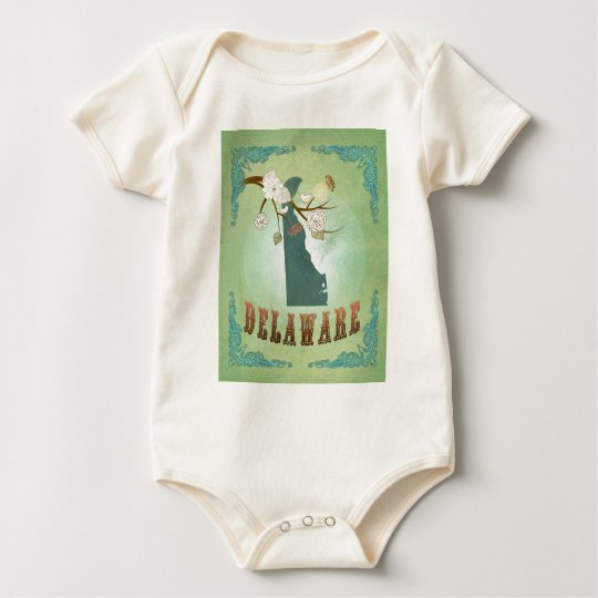 Delaware State Map – Green Baby Bodysuit