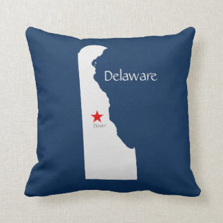 Delaware State Map with Capitol Star Throw Pillow