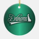 Delaware State of Mine Double-Sided Ceramic Round Christmas Ornament