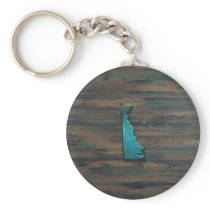 Delaware State Shape Teal Keychain