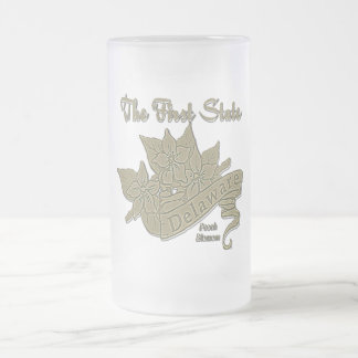 Delaware The Firat State Peach Blossom Frosted Glass Beer Mug
