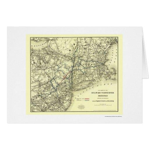 Delaware y mapa del norte 1890 del ferrocarril del tarjeta de felicitación