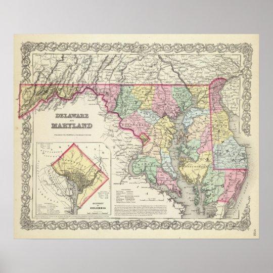 Delaware y Maryland con el distrito de Columbia Póster