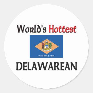 Delawarean más caliente del mundo pegatina redonda