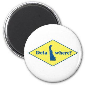 ¿Delawhere? Vintage Delaware Imán Redondo 5 Cm