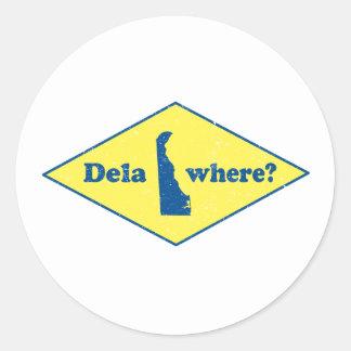 ¿Delawhere? Vintage Delaware Pegatina Redonda