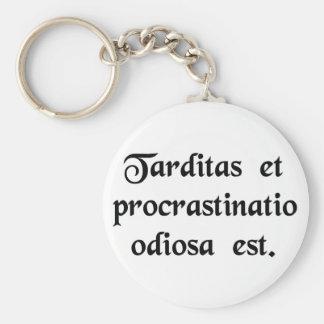 Delay and procrastination is hateful. keychains