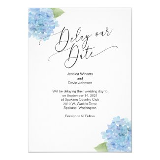 Delay our Date Hydrangea Floral Invitation