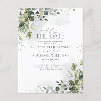 Delay the Date Eucalyptus Watercolor Wedding Announcement Postcard