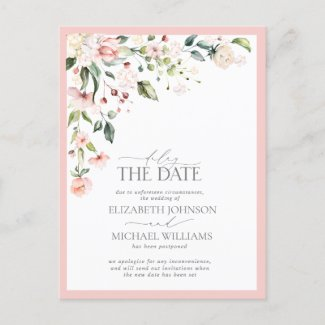 Delay the Date Floral Watercolor Pink Wedding Announcement Postcard