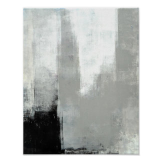'Delayed' Grey Abstract Art Poster