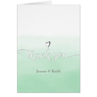 Delectable Shades of Mint Ombre Wedding Thank You Card
